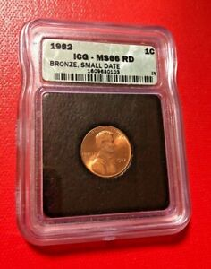 1982 ONE CENT ICG MS 66 RD BRONZE SMALL DATE