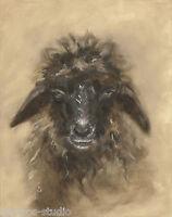"""""""Wanting A Hug, Wooly Sheep"""" Debra Sepos original oil 8"""" x 10"""" farmyard portrait"""