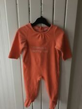 Baby Girl's Clothes 9-12 Months - Peach Velour One-Piece Outfit By Vertbaudet