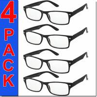 Reading Glasses Mens Square Frame 4 Pack Readers Womens Unisex Style Glasses New