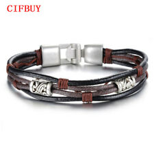 CIFBUY Handmade Multi-Layer Man's Bracelet New Fashion Leather Punk Rock Jewelry