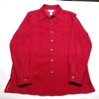 Talbots Womens Button Up Shirt Red Long Sleeve Cuff Collar Stretch Petites S