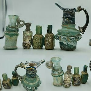 RARE 5 PCS  Ancient   Roman Glass Jug & Bottles Vessels with Full Patina