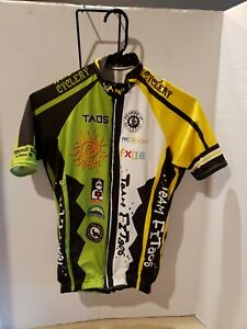 Vomax Mens Cycling Bicycling Jersey, Taos Cyclery, Team Fitaos. Small. Full Zip