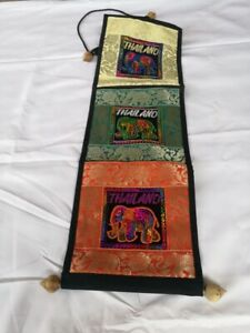 Elephant Sequin Embroidery Wall Art Hanging Ethnic Tapestry Letter Holder Decor