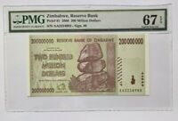 Zimbabwe PMG Gem UNC 67 EPQ 200 million dollars