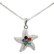 Starfish Asteroidea Sea Ocean Pendant Necklace Charm Austrian Crystal Multicolor