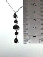 Genuine SPINEL BLACK Pendant with Chain 925 Silver Dangle Drop Pendant Necklace