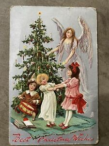 Antique Christmas Holiday Postcard Angel Christmas Tree Kids Tuck's  (CC)