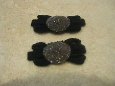 EARLY 1900'S VINTAGE SHOE CLIPS BLACK W/METAL CENTER