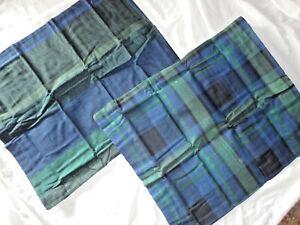 MARTHA STEWART WARWICK STRIPE BLUE GREEN FLANNEL (2) STANDARD PILLOW SHAMS 20X26