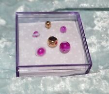 Purple Crystal Gold - Purple Rings & Swirl Acrylic Belly Ring Navel Pierce