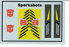 TRANSFORMERS GENERATION 1, G1 AUTOBOT SPARKABOTS REPRO LABELS / STICKERS