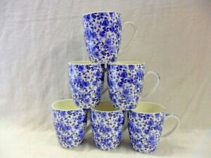 Set of 6 Blue Rose design aspen china mugs
