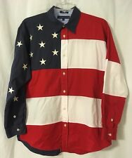 New listing Vintage Tommy Hilfiger Usa American Flag Long Sleeve Button Down Shirt. Large