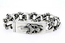"Chrome Hearts Mens Bracelet 1995 Sterling Silver Dagger ID Clasp 8.5"" 135.5g"