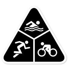 "Triathlon Run Bike Swim car bumper sticker 4"" x 4"""