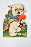 Vintage Die Cut Germany Mechanical Love Card Anthropomorphic Puppy Top Hat Heart