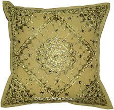 16'' Green Mirror Embroidered Cushion Cover Handmade Pillow Throw India Decor