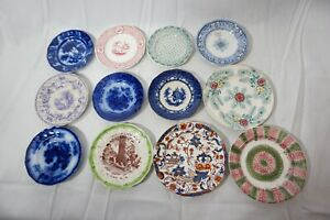 ANTIQUE STAFFORDSHIRE CUP PLATES TRANSFER WARE FLOW BLUE 4in LOT OF 12 1800s e