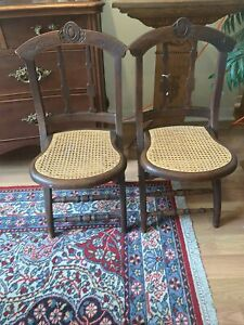 Antique Pair Of Colligon Victorian Wood & Cane Carved Folding Chairs. Dated 1871