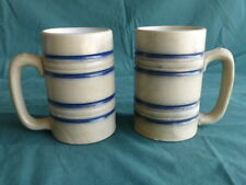 Two Antique Stoneware Blue Banded Mugs