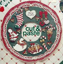 NEW 1980s Vntg Plaid Cut & Paste Wooden Christmas Ornament Kit 59212 Set 9 10018