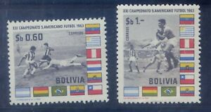 z1505 BOLIVIA 469-470 MNH Soccer and Flags 21st South American Tournament 1963
