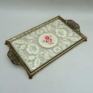 Vintage Petit Point Vanity Tray ~ Embroidered Rose Floral ~ Brass Filigree