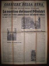 CORRIERE DELLA SERA  27/7/1943  La nomina dei nuovi Ministri