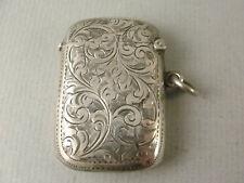 More details for very good antique silver vesta case. hallmarked birmingham 1910 maker jg