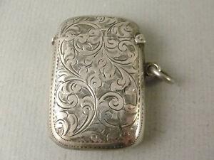 Very Good Antique Silver VESTA CASE. Hallmarked Birmingham 1910 Maker JG
