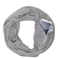 1× Scarf Unisex Infinity Cotton Collar Scarves with Zipper Pocket Gift Traveling