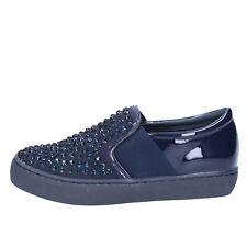 scarpe donna SARA LOPEZ 37 EU slip on blu vernice tessuto strass BX708-37