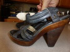 FRYE Sage Trapunto Gray Leather Ankle Strap Platform Sandals Shoes 7.5 M