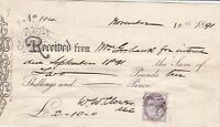 ROYAL HARROVIAN lodge of Odd Fellows For Interest Due1891 Stamp Receipt Rf 46937
