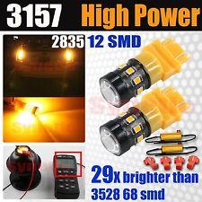3157 3457 Hi Power 2835 Chip LED Amber Yellow Turn Signal Parking Bulbs+Resistor