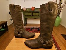 Pre-owned FRYE Women's Pebbled Brown/Gray Leather Riding, Fashion Boots 8.5B