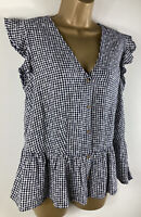 New NEXT Top Gingham black and white flowers Linen Blend Size 10 12 14