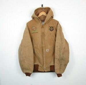 VTG Mens CARHARTT Worn Beige Thermal Lined Hood USA Workwear Chore Jacket   XL