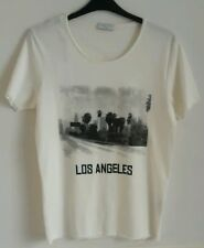 Selected Homme Rock N Roll di Los Angeles T Shirt, marshmallow, piccolo, nuova con etichetta