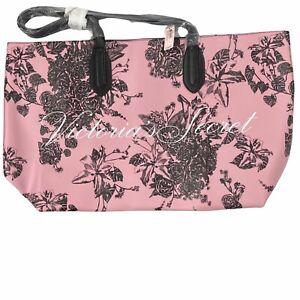 NWT Victoria's Secret Tote Pink Black Floral Polyvinyl