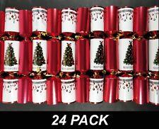 24 x Christmas Crackers Bon Bons 30cm Red & White with Hat, Joke & Novelty