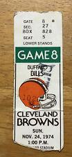Vintage 1974 Buffalo Bills Ticket Stub vs Cleveland Browns Brian Sipe Rookie