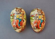 Paper Easter Egg Candy Container Box Bunny Rabbit Motor Scooter Germany Vintage