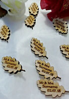 Personalised Leaf Wedding Favours x50 Birch Table Decorations Scatters Mr & Mrs