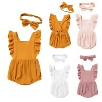 Newborn Baby Girls Romper Cotton Clothes Birthday Party Sleeveless  Jumpsuit Set
