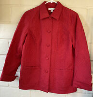 COLDWATER CREEK Red 100% Silk Quilted Barn Jacket Light Coat PM Petite Medium