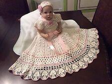 Crochet Christening Gown Pattern For Yoked Interchangeable Flower Christening Go