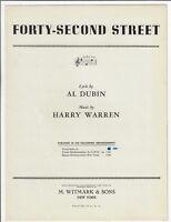 FORTY-SECOND STREET 1932 Al Dubin & Harry Warren Sheet Music